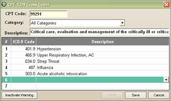 You can customize the list of diagnosis codes for each CPT code.